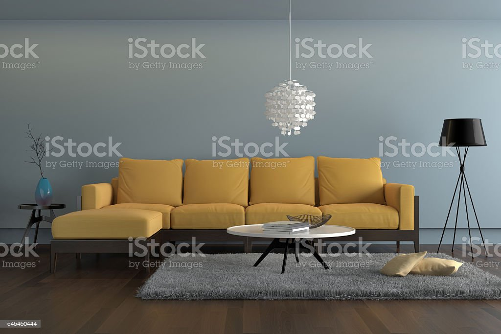 Attrayant Contemporary Living Room With Yellow Sofa With Light Blue Wall Stock Photo    Download Image Now