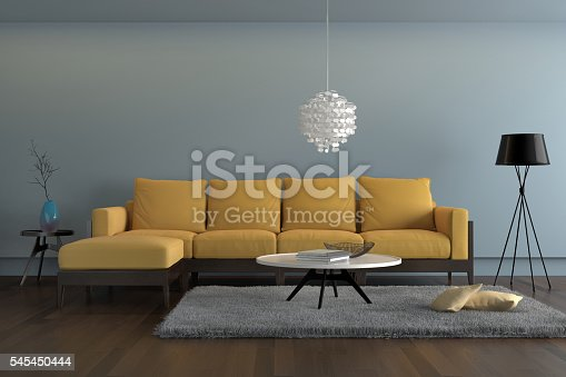 istock Contemporary  living room with yellow sofa with light blue wall 545450444