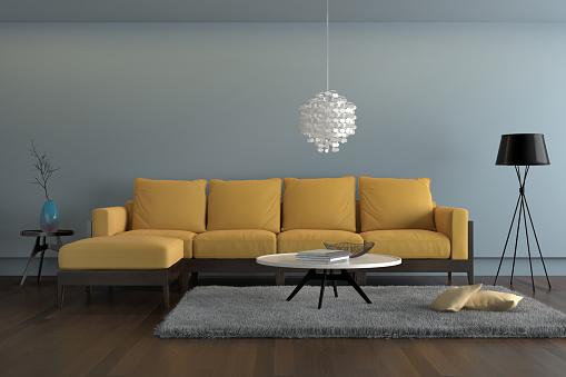 Contemporary Living Room With Yellow Sofa With Light Blue Wall Stockfoto  und mehr Bilder von 2015