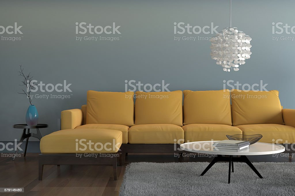 Contemporary Living Room With Yellow Sofa With Light Blue Wall Stock Photo  579146460 | IStock Part 54