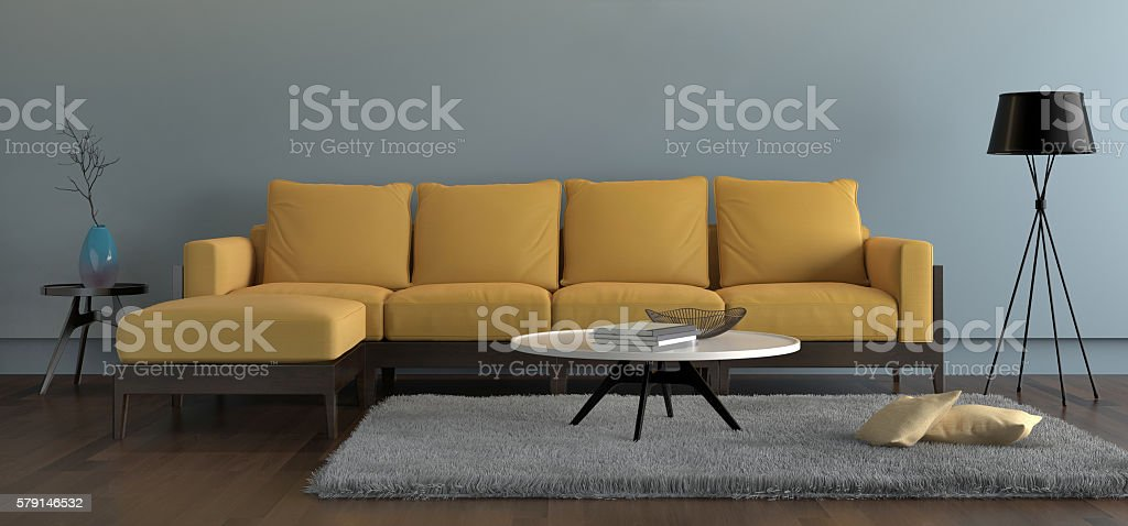 Contemporary Living Room With Yellow Sofa With Light Blue Wall Royalty Free  Stock Photo