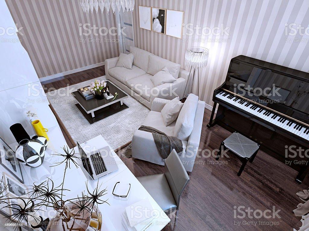 Photo libre de droit de Salon De Style Contemporain banque d\'images et plus  d\'images libres de droit de {top keyword}