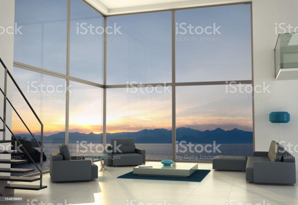 Loft contemporâneo de Design de interiores - foto de acervo