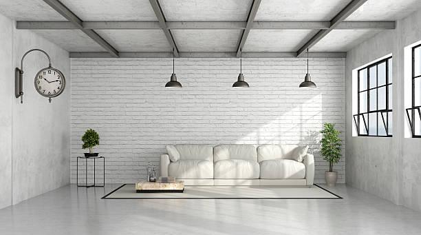 moderne loft-innenfutter - betonboden wohnzimmer stock-fotos und bilder