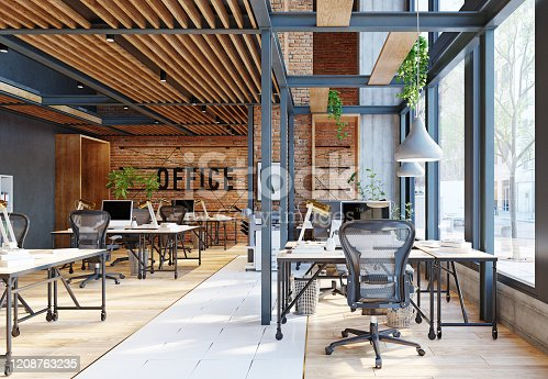 contemporary loft office interior. 3d rendering design concept