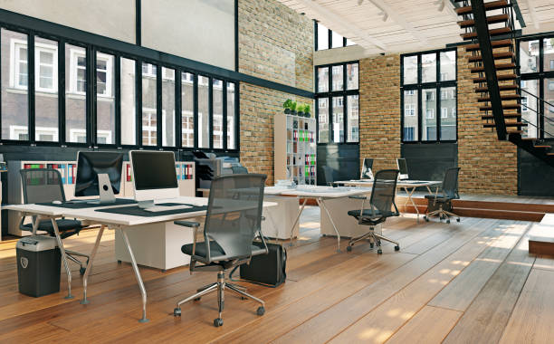 contemporary loft office stock photo