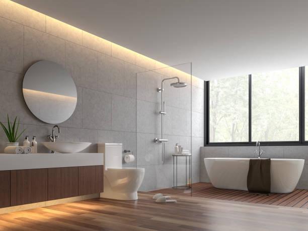 zeitgenössische loft-stil bad 3d render - raumteiler weiß stock-fotos und bilder