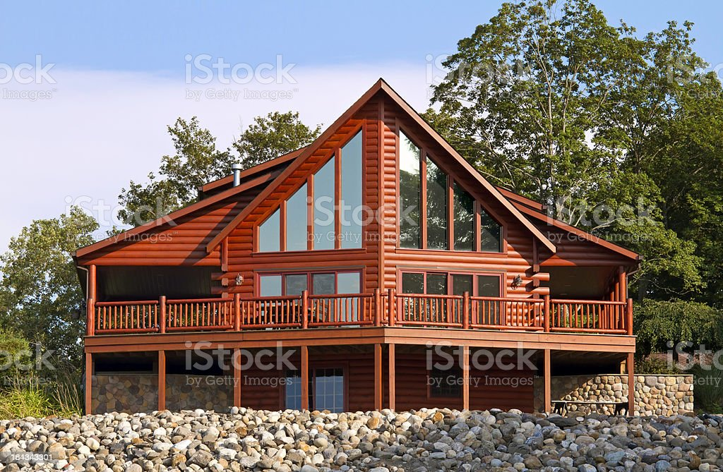 Contemporary Log House stock photo