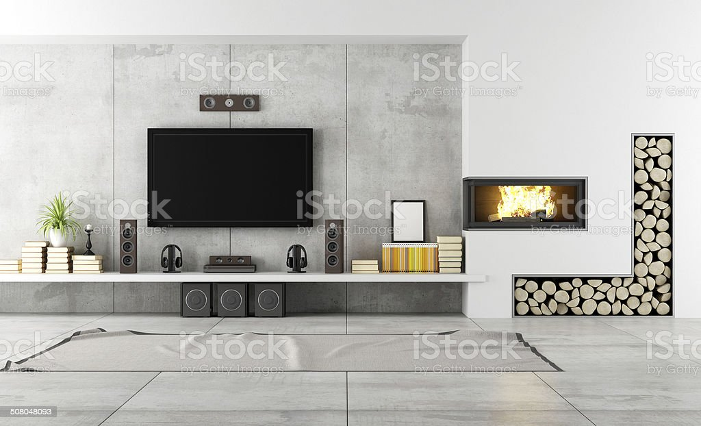 Contemporary lounge with fireplace stock photo