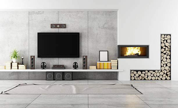 moderne lounge mit kamin - zimmer bildschirm stock-fotos und bilder