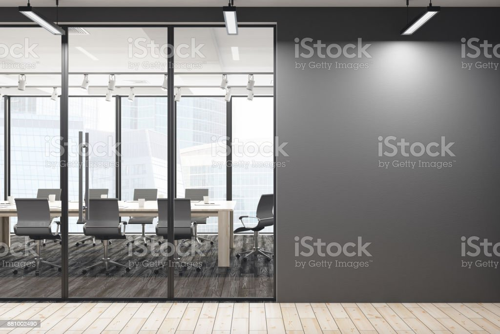 Contemporary meeting room with empty wall stock photo