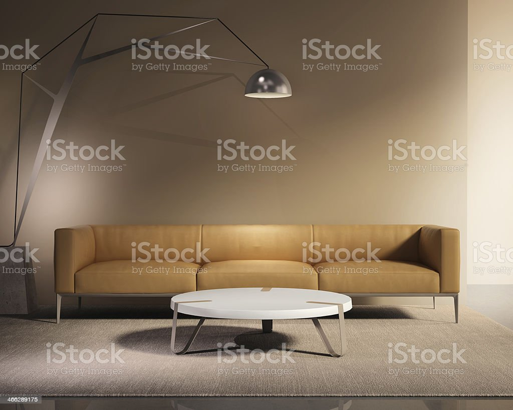 Contemporary minimal tobacco leather sofa with rug stock photo