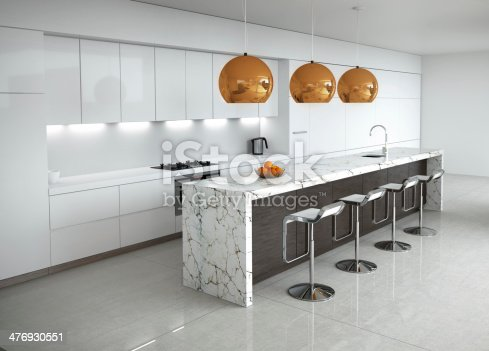 3d rendering of a contemporary minimal white kitchen