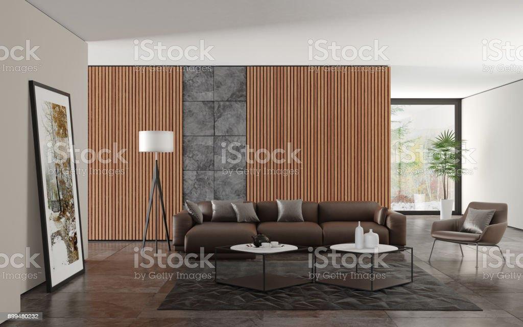 Modernen minimalistischen Wohnzimmer Interieur mit Holz Wandpaneele – Foto