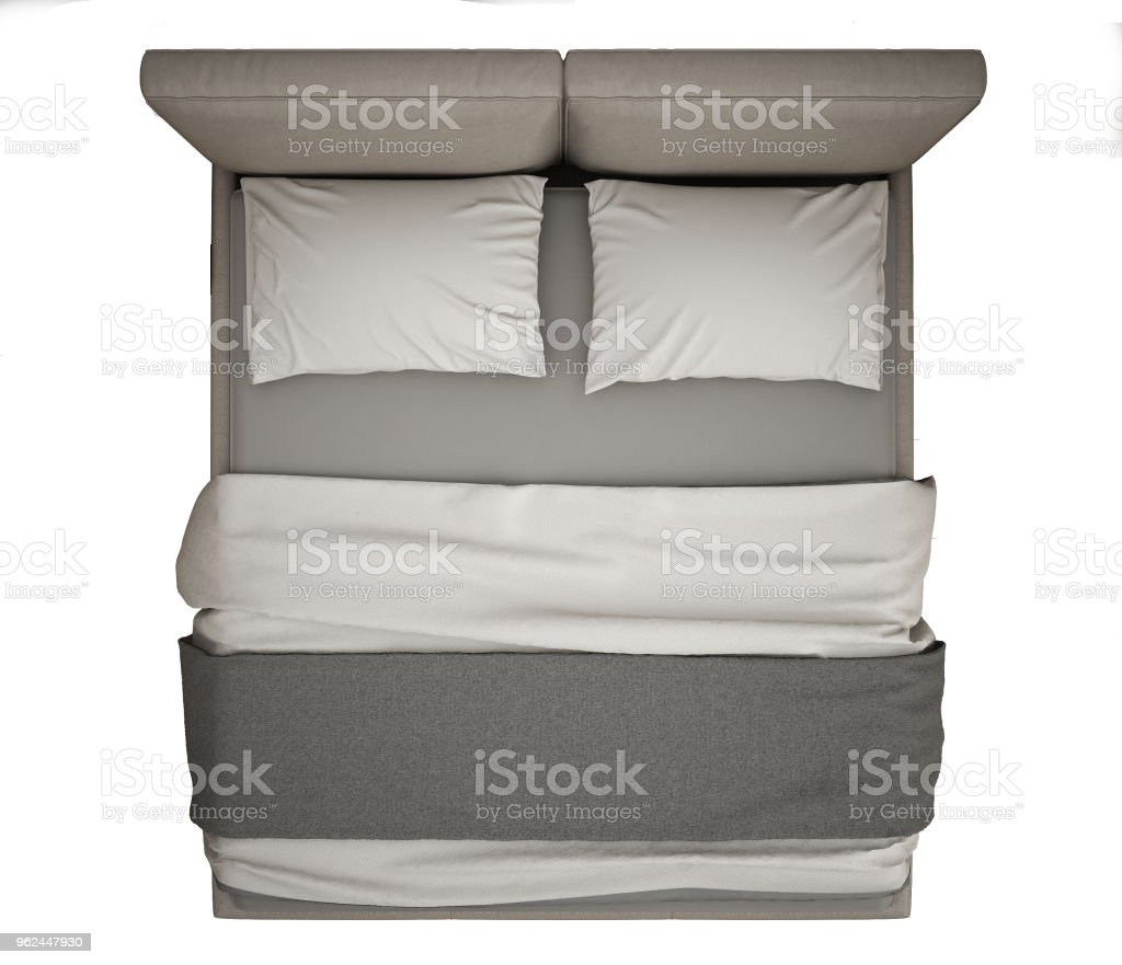 double bed top view. Contemporary Modern Double Bed, Top View, Isolated On White Background, Gray And Cream Bed View I