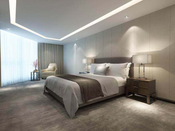 Contemporary modern luxury hotel bedroom stock photo