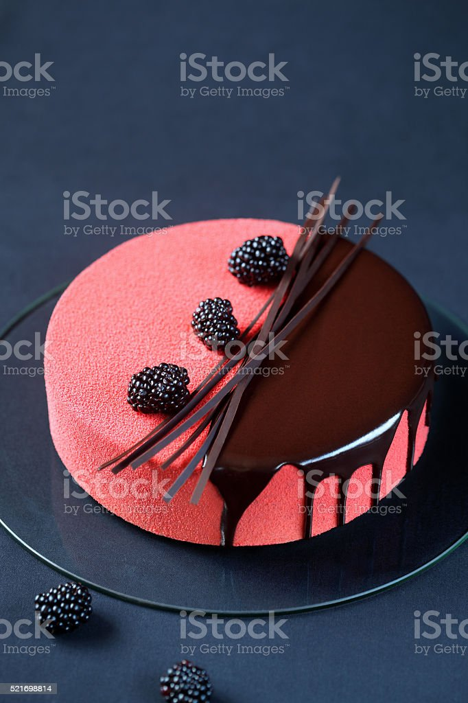Contemporary Multi Layered Mousse Cake stock photo
