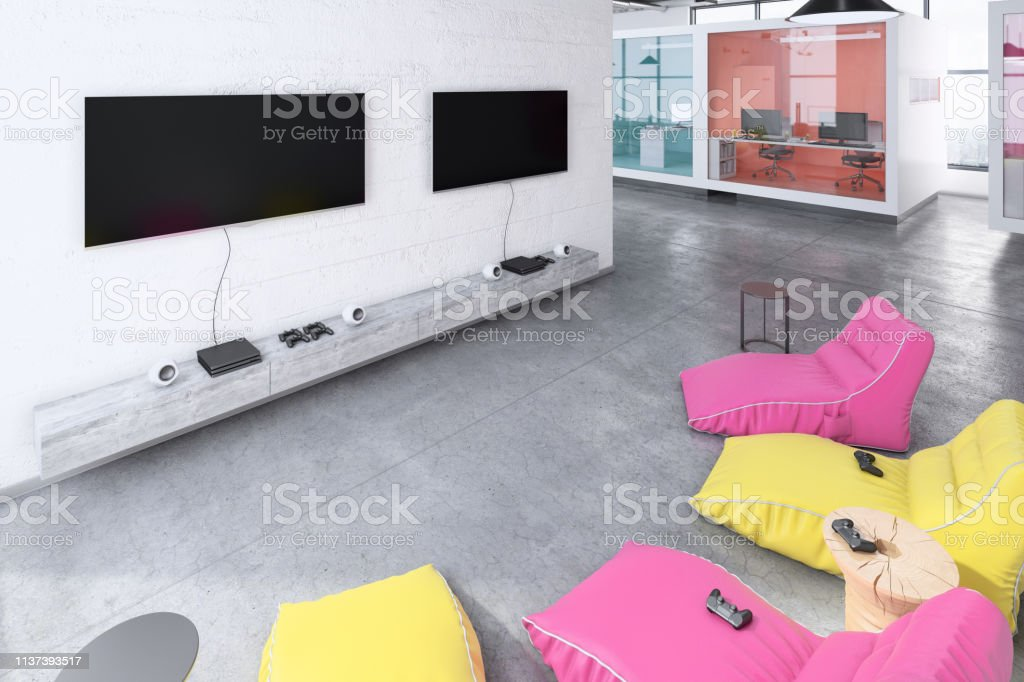 Contemporary office interior entertainment gaming room