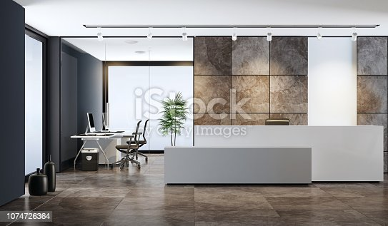 white reception desk with copy space in entrance area of an office building  with natural slate stone large brown veneer tiles. lobby area with two white  leather armchairs in front of black wall and two white computer desks.  white ceiling with white spotlights