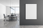 Contemporary concrete office interior with empty banner on wall, New York city view and furniture. Mock up, 3D Rendering
