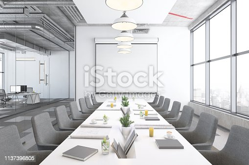 Contemporary open plan office interior with conference room. Window, table, projector screen with pendant lamp, armchairs and computer monitors. Template for copy space. Render.