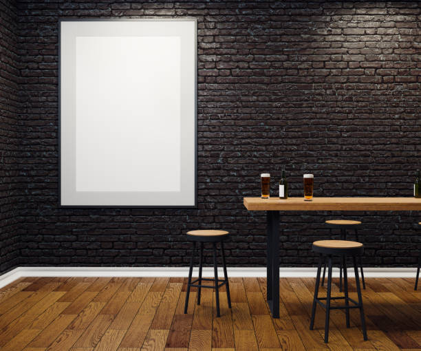 Contemporary pub with blank banner stock photo