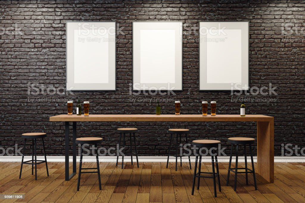 Contemporary pub with blank billboards stock photo