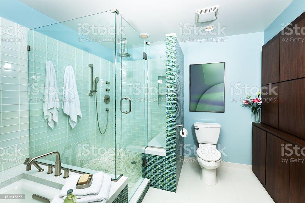 Moderne Wohnliche Badezimmer Mit Dusche Badewanne Und Glasfliesen ...