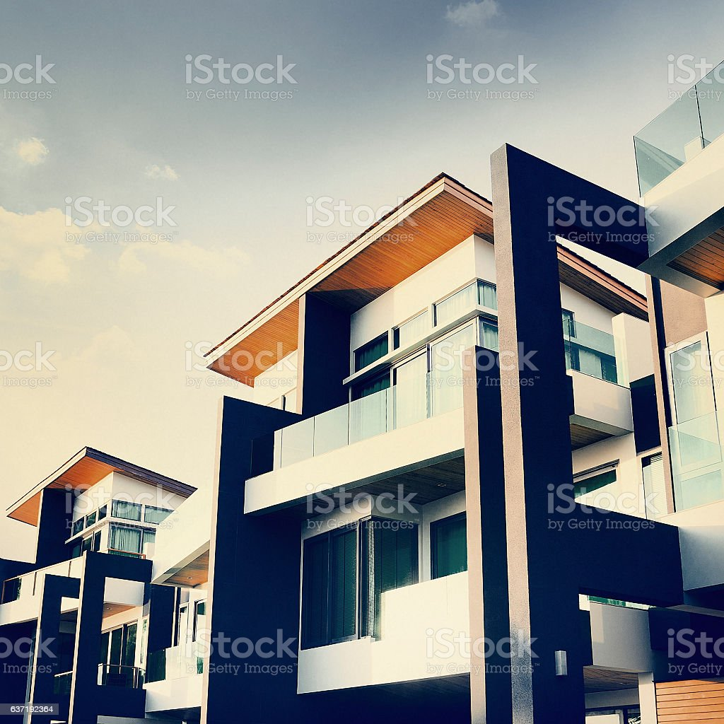 Contemporary Residential Building Exterior Daylight Concept stock photo