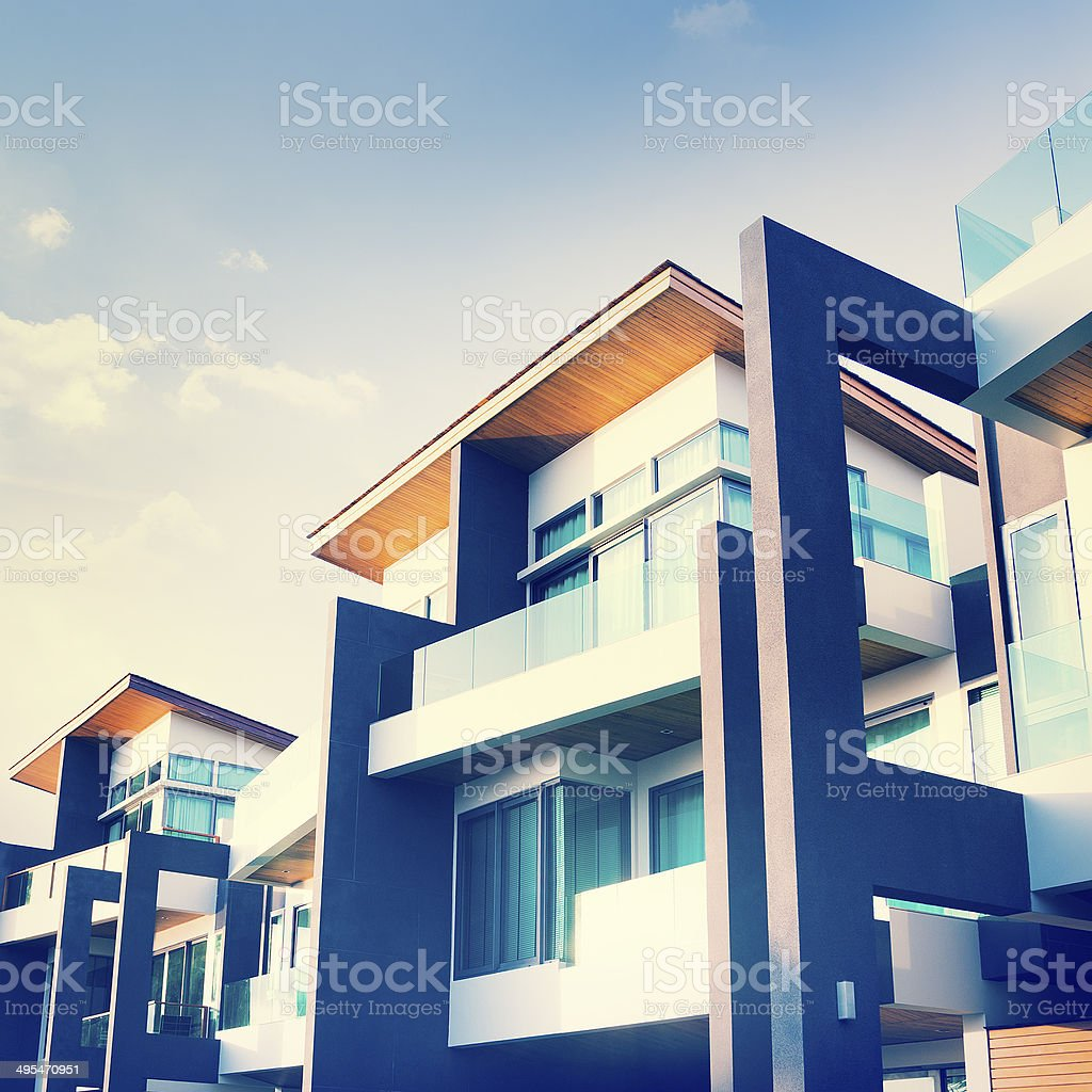 Contemporary Residential Building Exterior in the Daylight stock photo