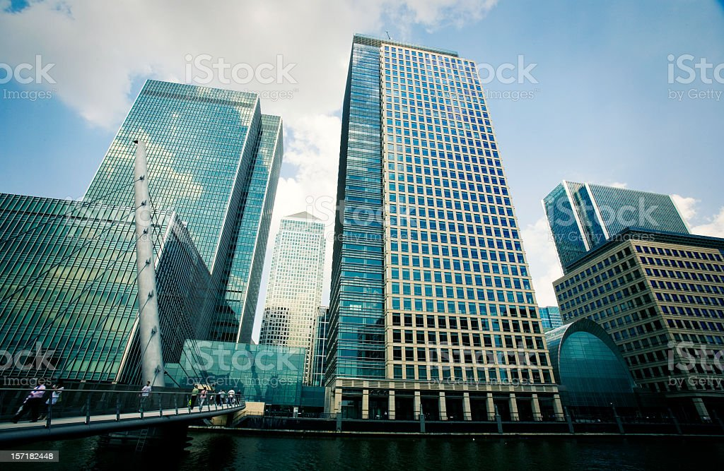 Contemporary skyscrapers in the Docklands business district, London, UK stock photo