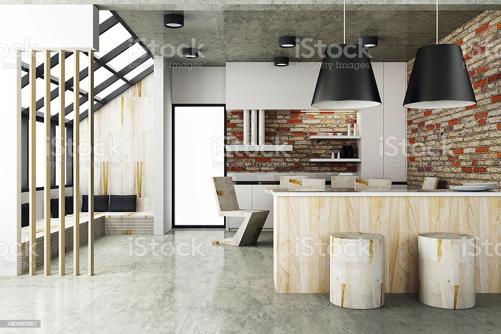 Contemporary style of Dining room interior design stock photo