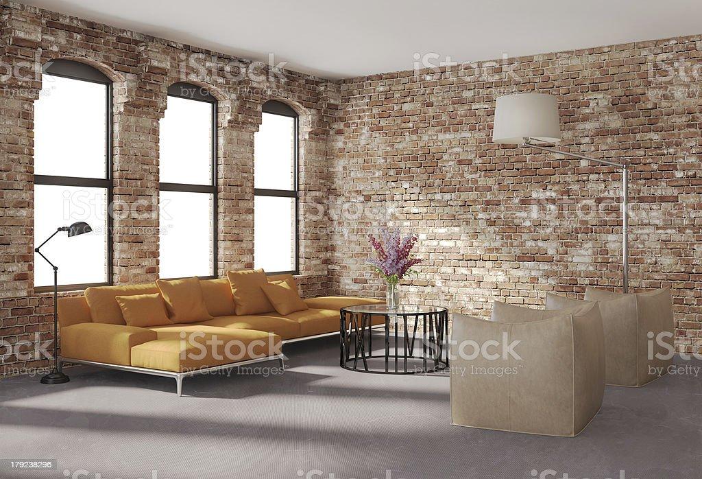 Contemporary stylish loft interior, brick walls, orange sofa stock photo