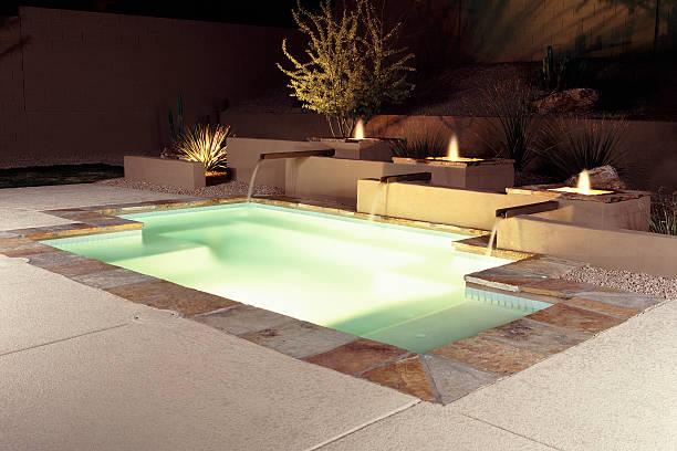 Contemporary Swimming Pool Design On An Illuminated Patio ...