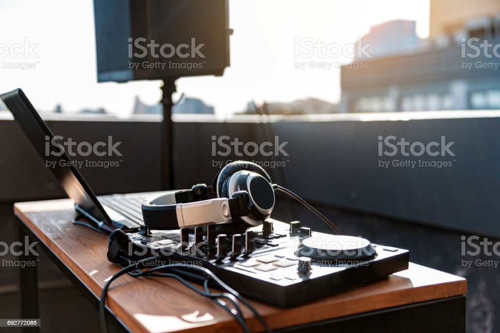 Contemporary technology for musical entertainment stock photo