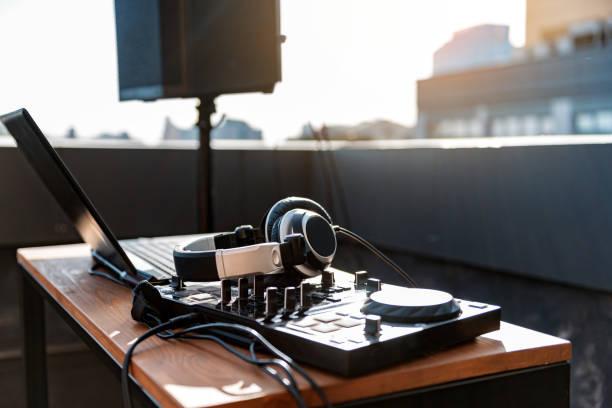 뮤지컬 엔터테인먼트를 위한 현대 기술 스톡 사진
