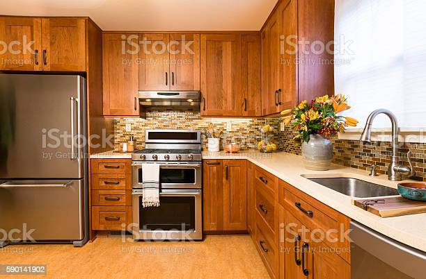 Contemporary upscale kitchen with wood cabinets and stainless steel picture id590141902?b=1&k=6&m=590141902&s=612x612&h=6aplcpv29yzesffue78gxysermigxtpn mpzp5dwz4e=