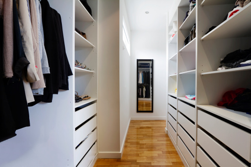 Contemporary Walk In Wardrobe Stock Photo - Download Image Now