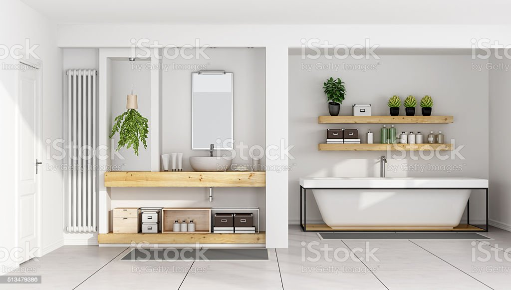 Contemporary white bathroom stock photo