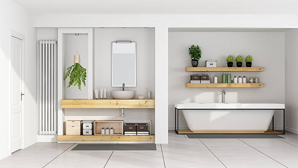 moderne weiße badezimmer - badezimmermöbel holz stock-fotos und bilder