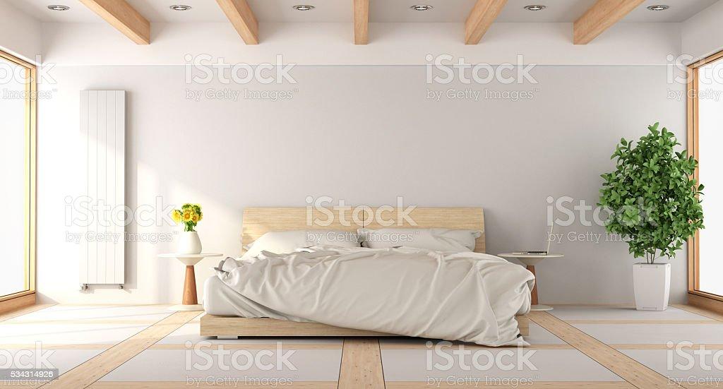 Moderna camera da letto bianca - foto stock