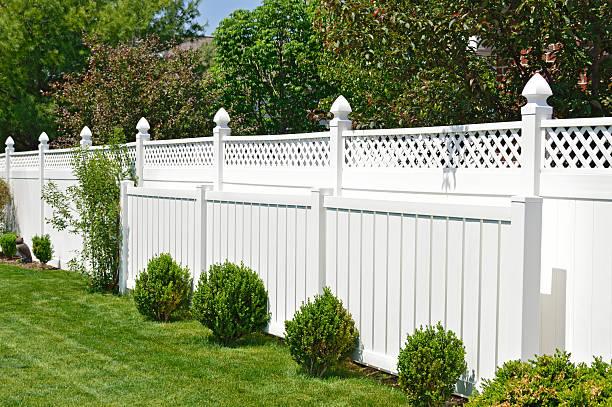Contemporary white fence stock photo
