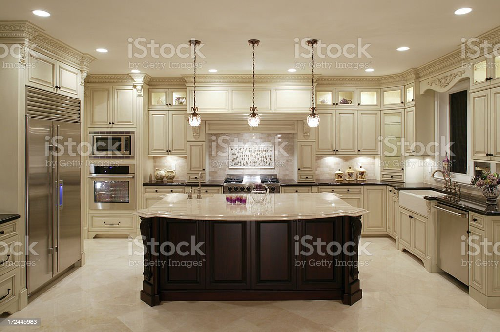 Contemporary White Kitchen stock photo