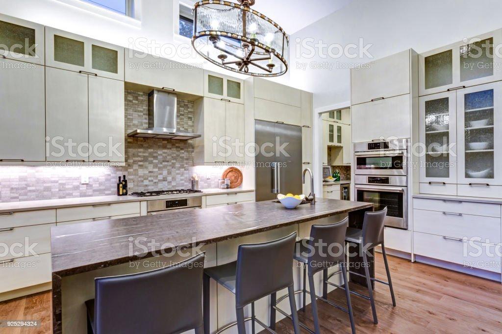 Contemporary White Kitchen With Highend Kitchen Appliances Stock ...