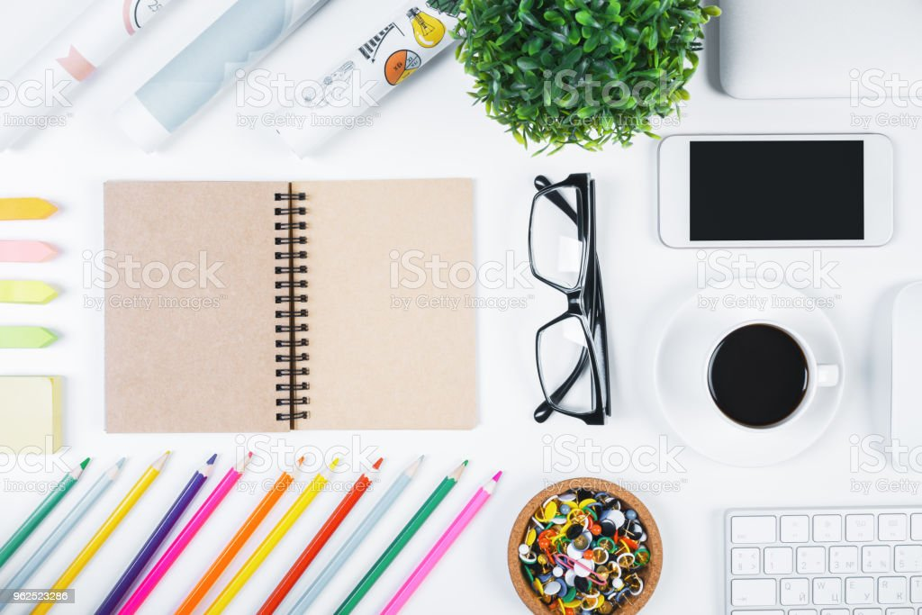 Contemporary white tabletop with objects - Royalty-free Above Stock Photo