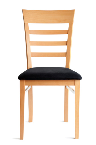 Subject: A contemporary beech side chair with a black cloth seat. Front view isolated on white background.