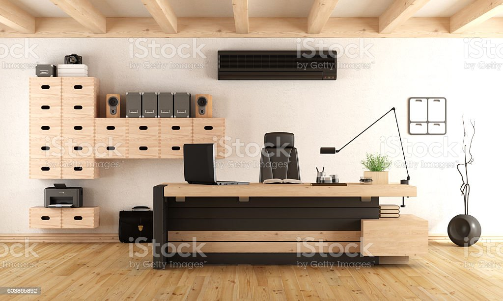 Contemporary wooden office - foto stock