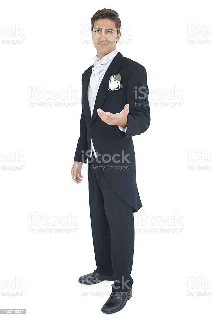 Content attractive young groom presenting his hand stock photo