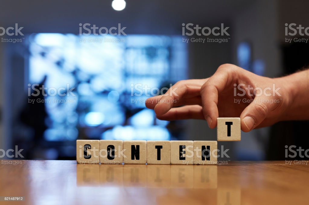 Content Concept with Alphabet Blocks stock photo