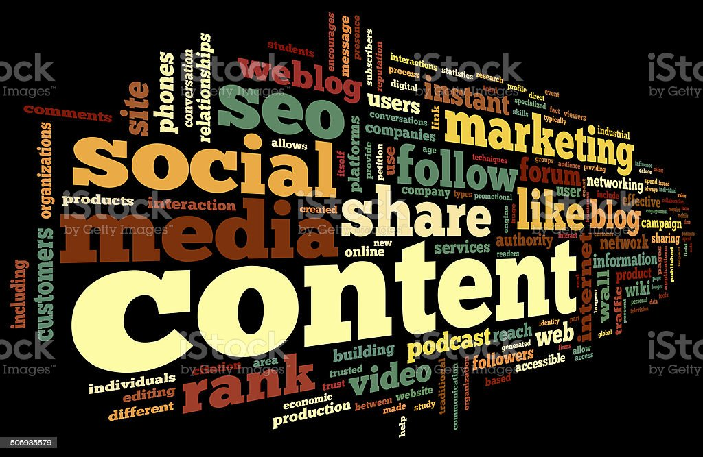 Content conept in word cloud on black stock photo
